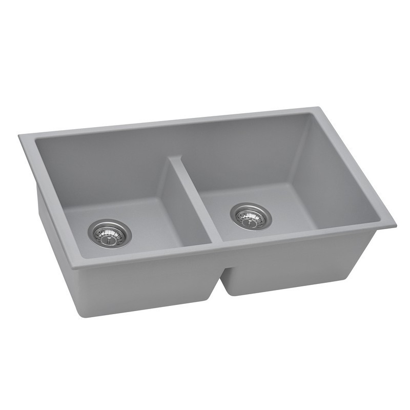 RUVATI RVG2385GR 33 X 19 INCH GRANITE COMPOSITE UNDERMOUNT DOUBLE BOWL LOW DIVIDE KITCHEN SINK IN SILVER GRAY