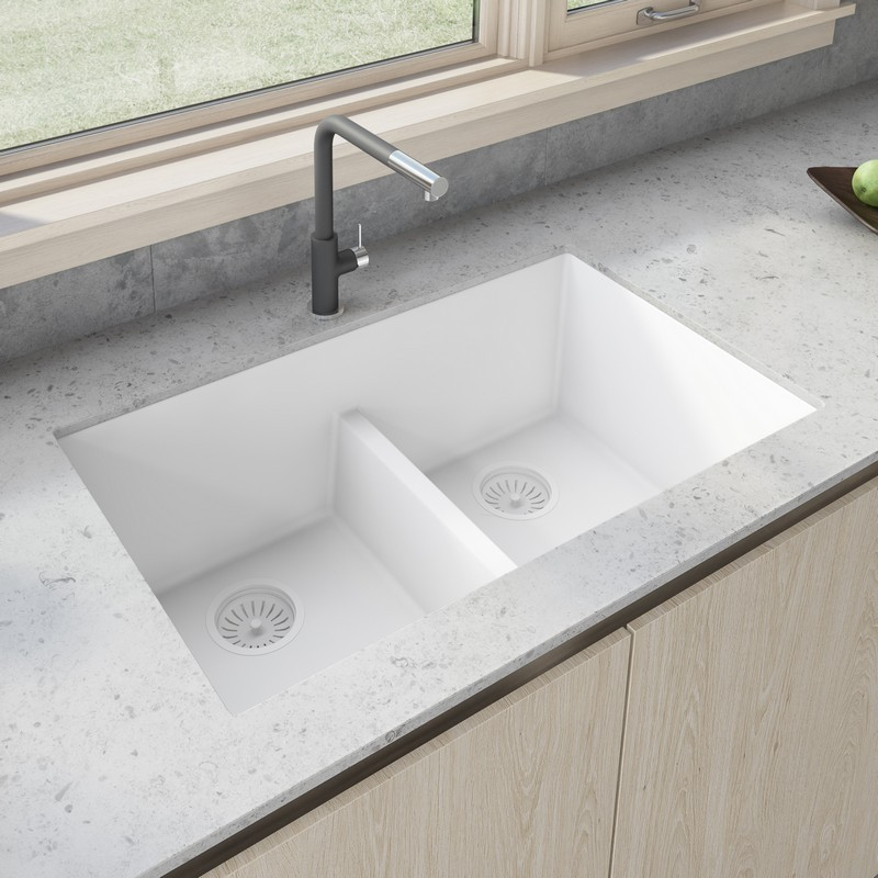 RUVATI RVG2385WH 33 X 19 INCH GRANITE COMPOSITE UNDERMOUNT DOUBLE BOWL LOW DIVIDE KITCHEN SINK IN ARCTIC WHITE