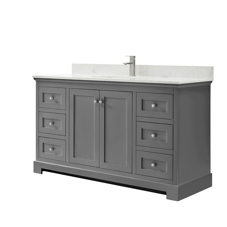 Wyndham Collection Wca404060skgccunsmxx Ryla 60 Inch Single Bathroom Vanity In Dark Gray Carrara Cultured Marble