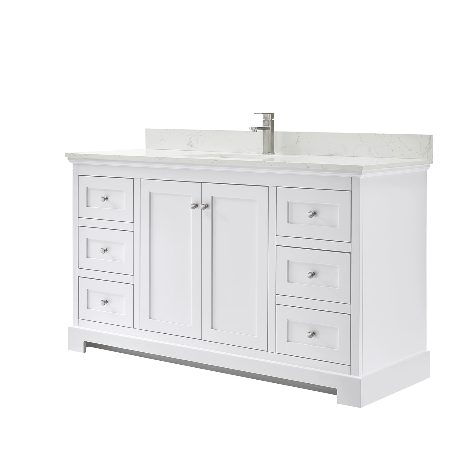 Wyndham Collection Wca404060swhccunsmxx Ryla 60 Inch Single Bathroom Vanity In White Carrara Cultured Marble