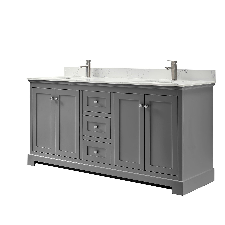 Wyndham Collection Wca404072dkgccunsmxx Ryla 72 Inch Double Bathroom Vanity In Dark Gray Carrara Cultured Marble