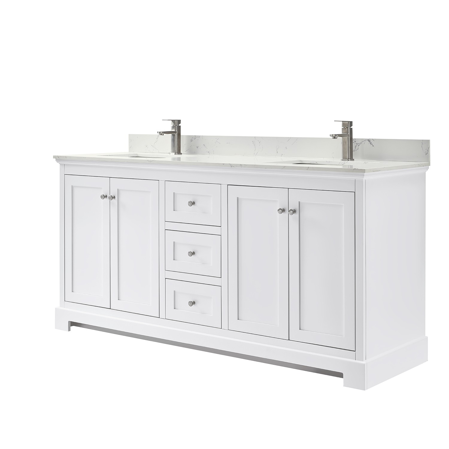 Wyndham Collection Wca404072dwhccunsmxx Ryla 72 Inch Double Bathroom Vanity In White Carrara Cultured Marble