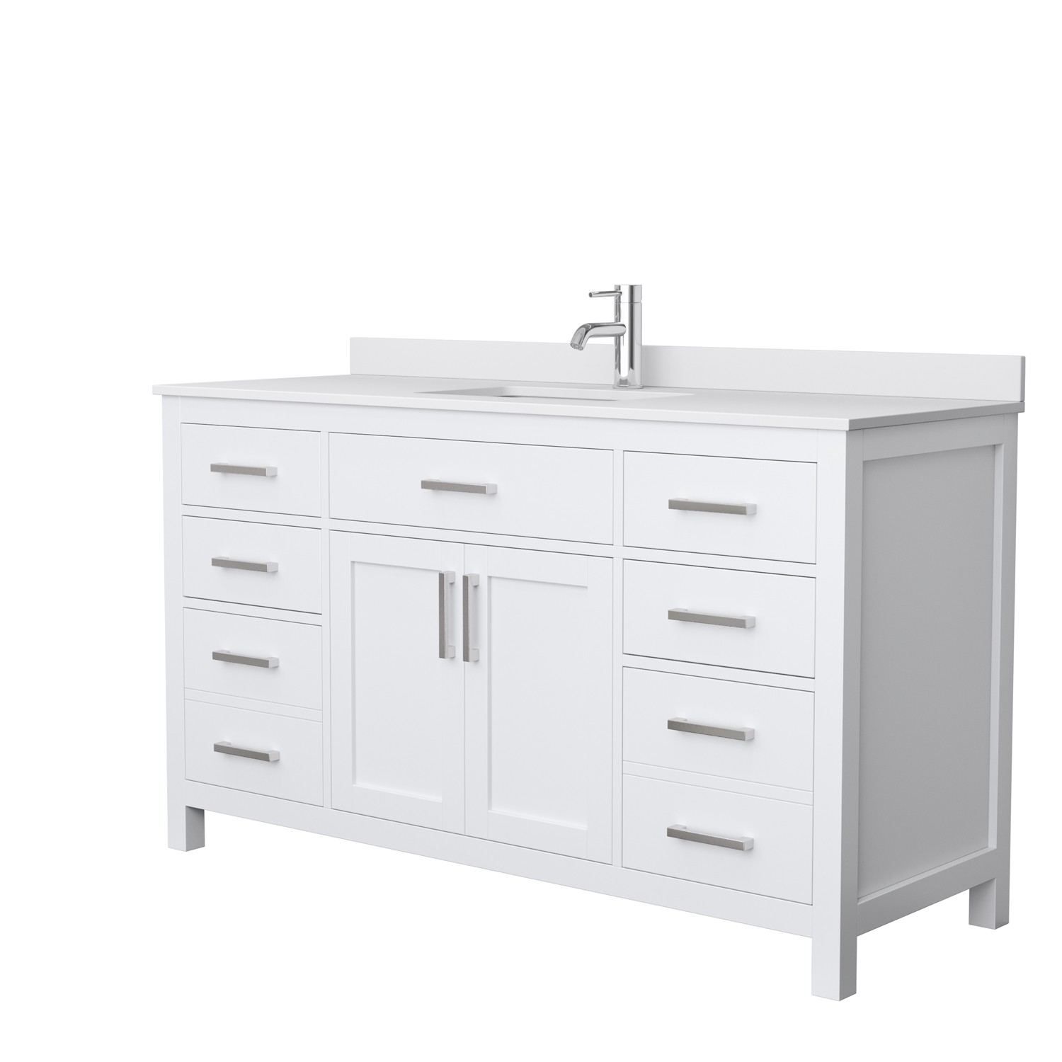 Wyndham Collection Wcg242460swhwcunsmxx Beckett 60 Inch Single Bathroom Vanity In White White Cultured Marble