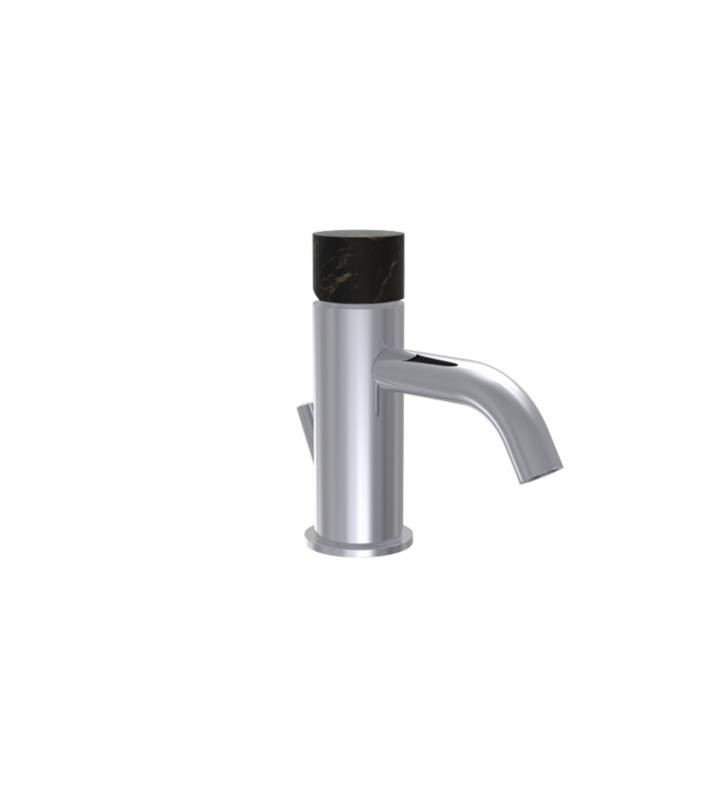 PHYLRICH 230-08-030 BASIC II SINGLE HOLE BATHROOM FAUCET WITH BLACK MARBLE HANDLE