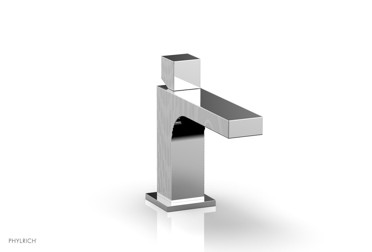 PHYLRICH 291L-08 STRIA SINGLE HOLE BATHROOM FAUCET WITH CUBE HANDLE