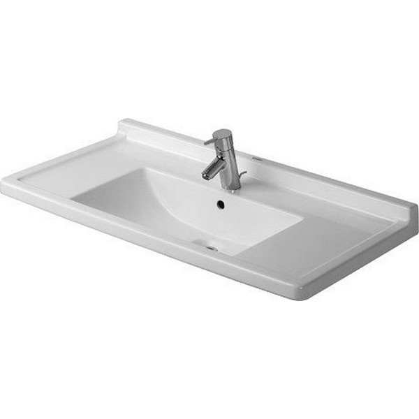 DURAVIT 030480 STARCK 3 33-1/2 X 19-1/8 INCH WASH BASIN WITH OVERFLOW AND TAP PLATFORM