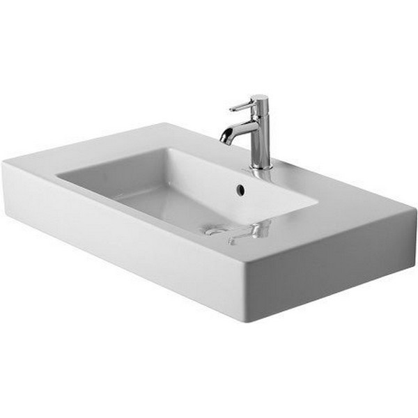 DURAVIT 032985 VERO 33-1/2 X 19-1/4 INCH FURNITURE WASH BASIN WITH OVERFLOW, TAP PLATFORM AND WONDERGLISS