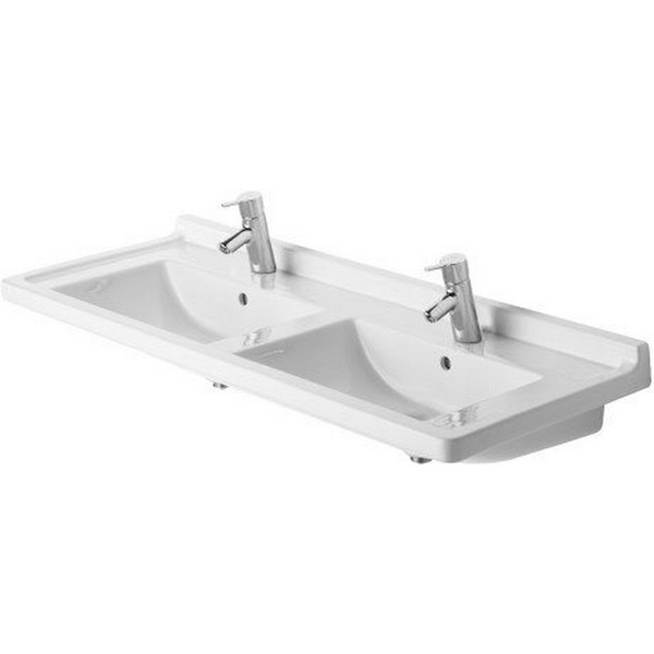 DURAVIT 033213 STARCK 3 51-1/8 X 19-1/8 INCH DOUBLE WASH BASIN WITH OVERFLOW AND TAP PLATFORM