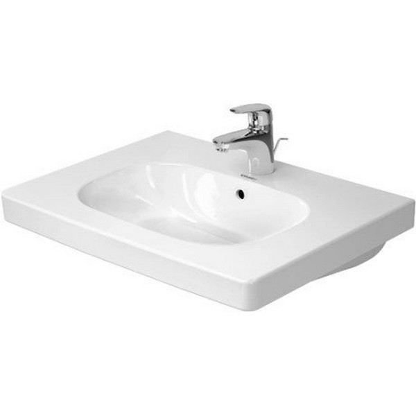 DURAVIT 034265 D-CODE 25-5/8 X 18-7/8 INCH DECK MOUNTED BATHROOM SINK WITH OVERFLOW