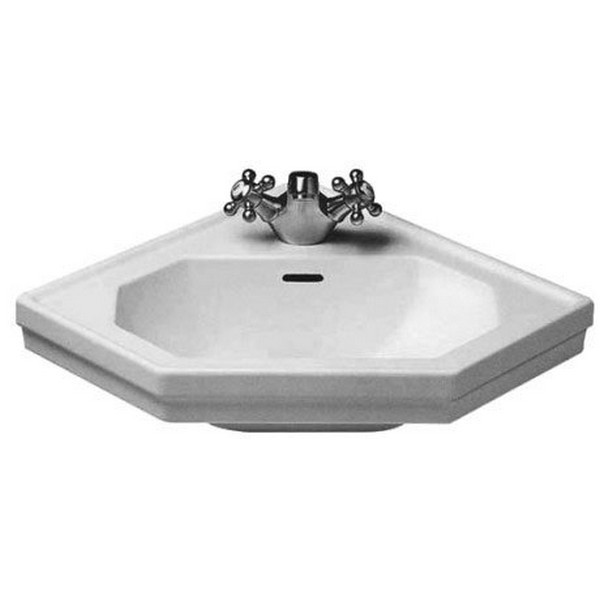 DURAVIT 079342 1930 SERIES 23-3/8 X 17-3/4 INCH WHITE CORNER HANDRINSE BASIN WITH OVERFLOW AND TAP PLATFORM