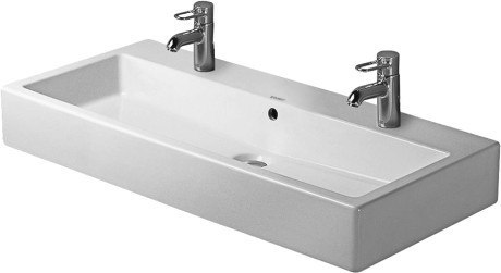 Duravit 045410 Vero 39-3/8 x 18-1/2 Inch Wide Lavatory Washbasin with WonderGliss and Two Faucet Holes