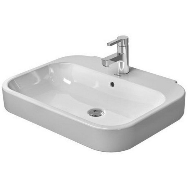 Duravit 231660 Happy D 2 23 5 8 X 18 3 4 Inch Wall Mounted Bathroom Sink With Overflow With Wondergliss 23166000001
