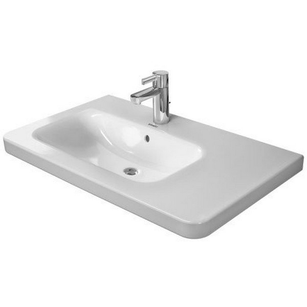 DURAVIT 232580 DURASTYLE 31-1/2 X 18-7/8 INCH DECK MOUNTED BATHROOM SINK LEFT SIDE BOWL WITH OVERFLOW