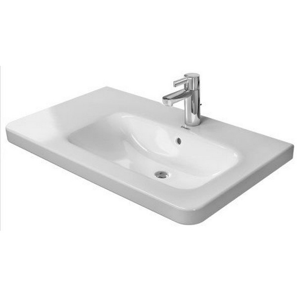DURAVIT 232680 DURASTYLE 31-1/2 X 18-7/8 INCH DECK MOUNTED BATHROOM SINK WITH BOWL ON RIGHT SIDE