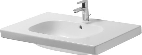 Duravit 034285 D-Code 33-1/2 x 18-7/8 Inch Deck Mounted Bathroom Sink with Overflow