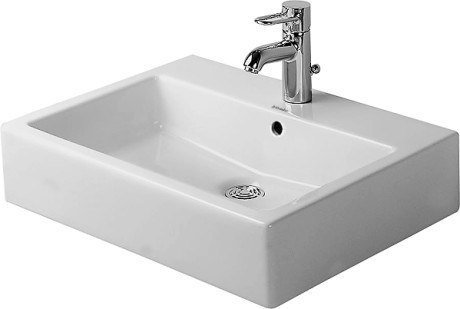 DURAVIT 045260 VERO 23-7/16 INCH ABOVE COUNTER BASIN, WHITE WITH OVERFLOW,  TAP PLATFORM, AND WONDERGLISS
