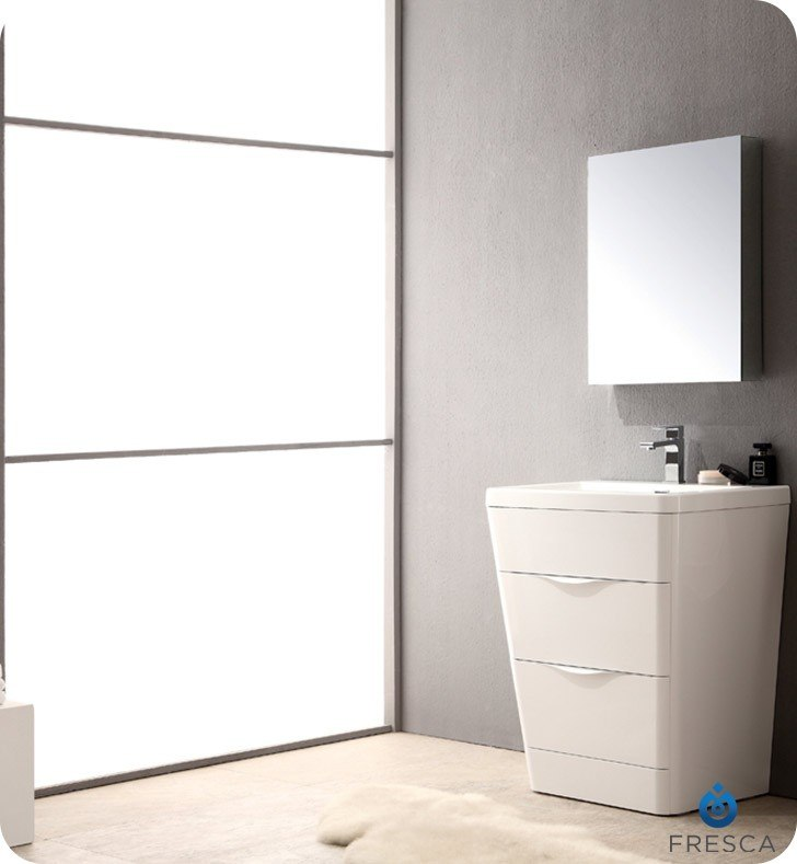 Fvn8525wh Milano 26 Inch Glossy White Modern Bathroom Vanity W Medicine Cabinet Fvn8525wh Fst8090wh Milano 26 Inch