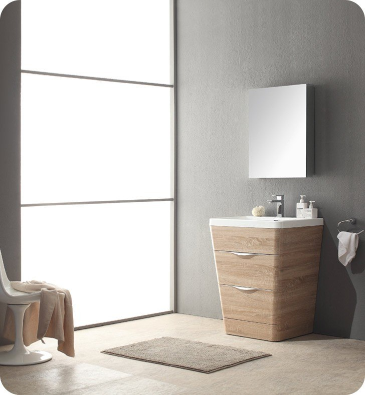 Fresca Fvn8525wk Milano 26 Inch White Oak Modern Bathroom Vanity With Medicine Cabinet