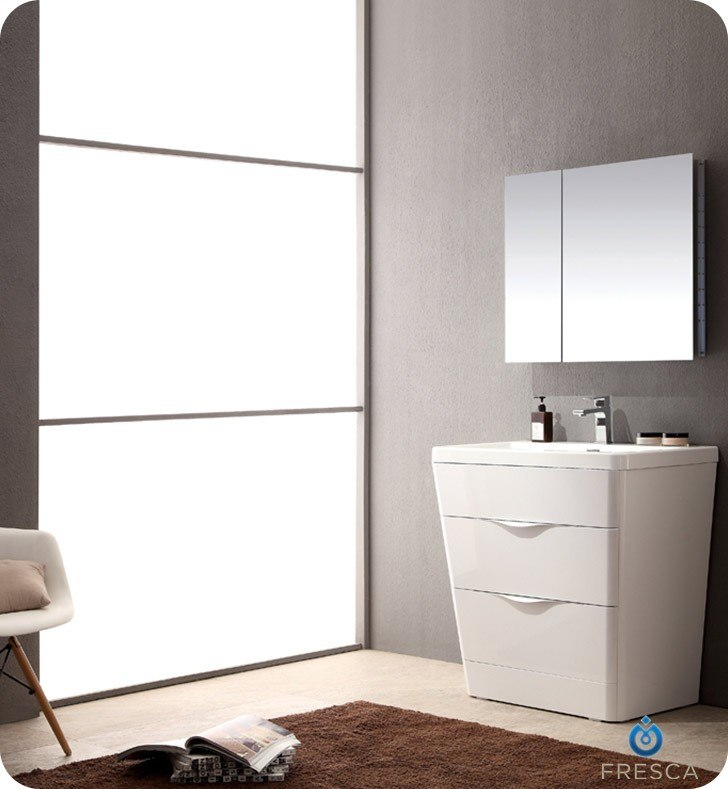 FRESCA FVN8532WH MILANO 32 INCH GLOSSY WHITE MODERN BATHROOM VANITY WITH MEDICINE CABINET
