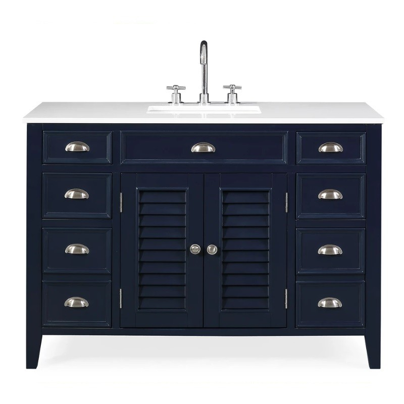 Chans Furniture Nb 4485qt 46 Inch Benton Collection Navy Blue Zapate Bathroom Sink Vanity With Quartz