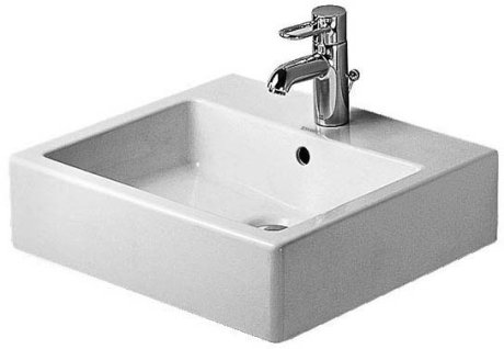 Duravit 045450 Vero 19-5/8 x 18-1/2 Inch Wall Mounted Bathroom Sink with Overflow and WonderGliss