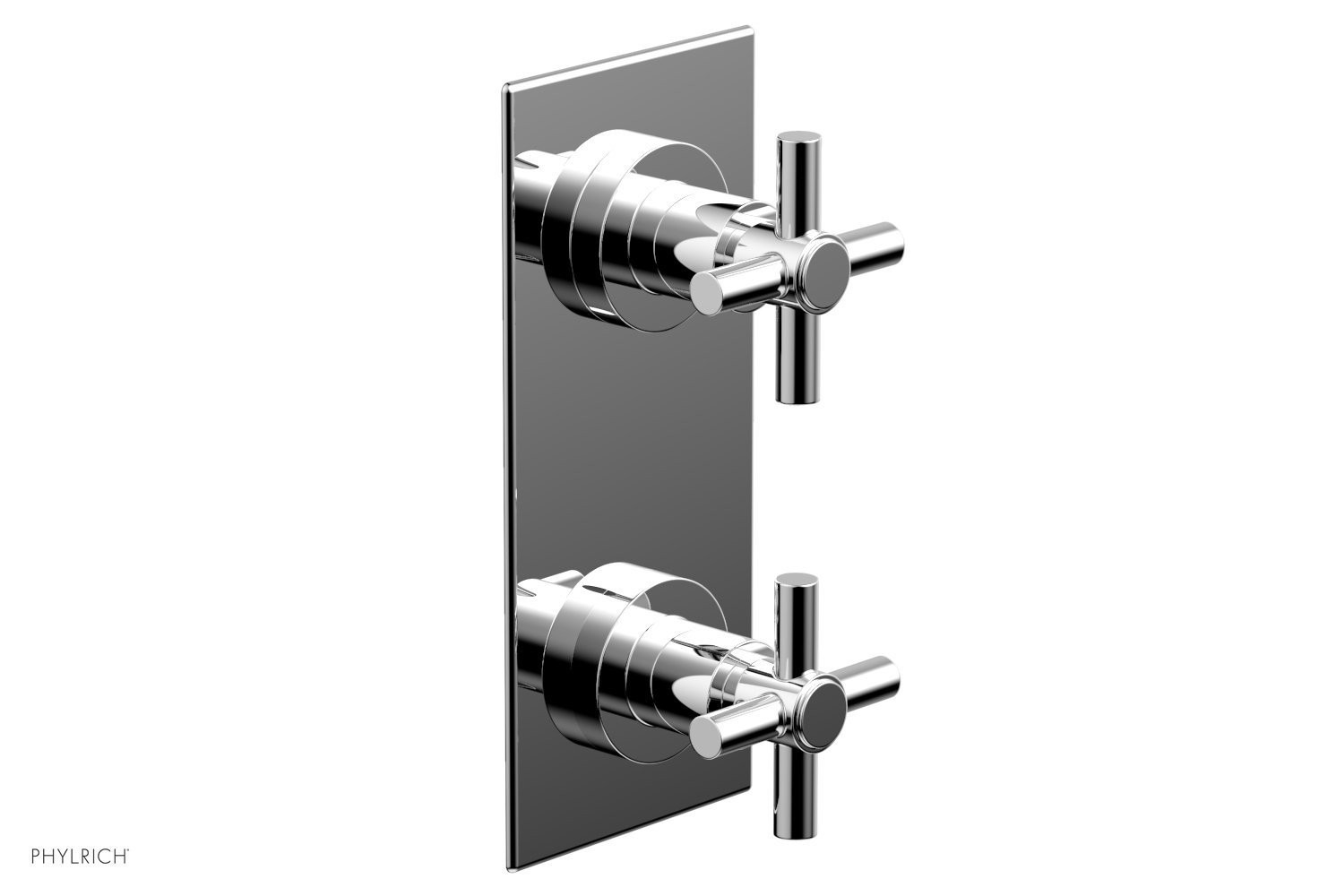 PHYLRICH 4-350 BASIC WALL MOUNT TWO TUBULAR CROSS HANDLES MINI THERMOSTATIC VALVE WITH VOLUME CONTROL OR DIVERTER TRIM