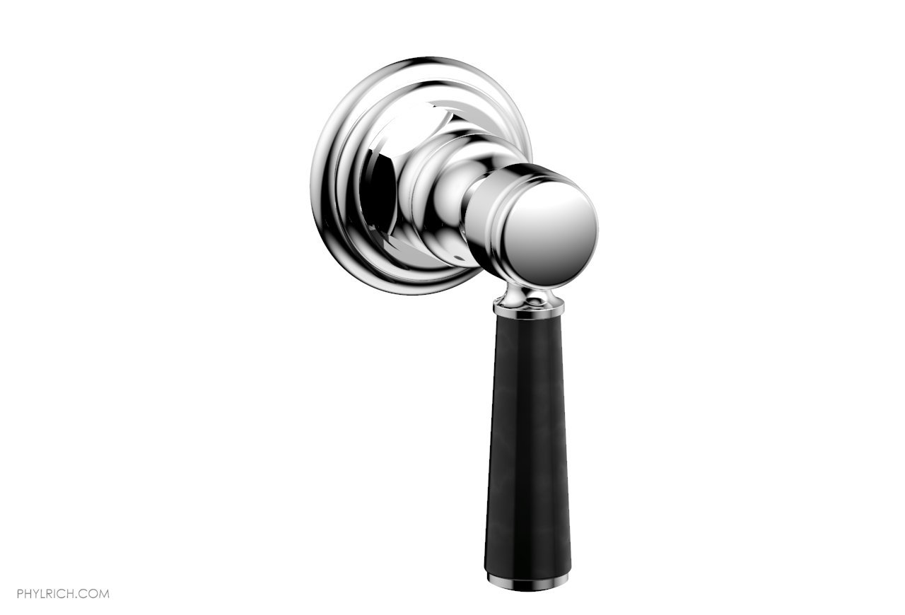 PHYLRICH 500-37-030 HEX TRADITIONAL WALL MOUNT VOLUME CONTROL OR DIVERTER TRIM BLACK MARBLE LEVER HANDLE