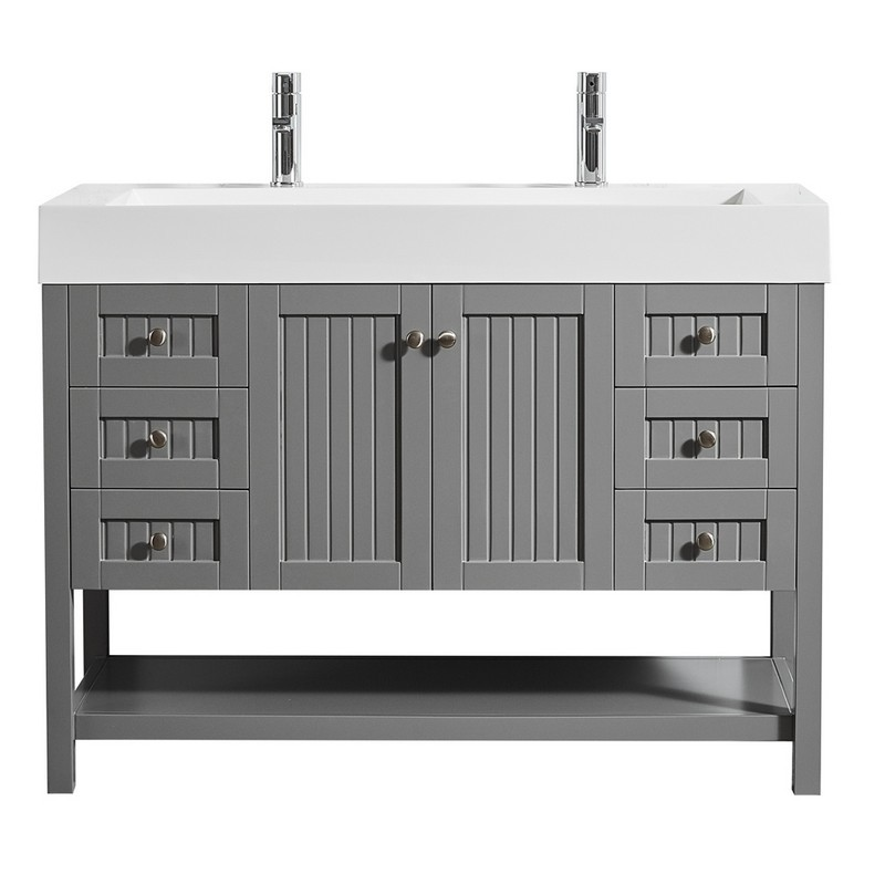 VINNOVA 755048-GR-WH-NM PAVIA 48 INCH SINGLE VANITY IN GREY WITH ACRYLIC UNDERMOUNT SINK WITHOUT MIRROR