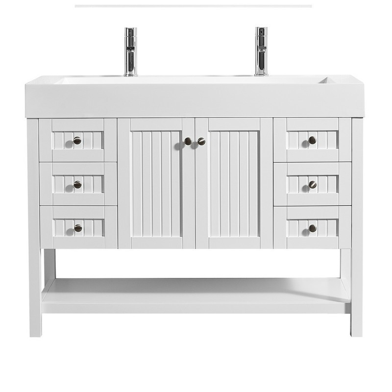 VINNOVA 755048-WH-WH-NM PAVIA 48 INCH SINGLE VANITY IN WHITE WITH ACRYLIC UNDERMOUNT SINK WITHOUT MIRROR