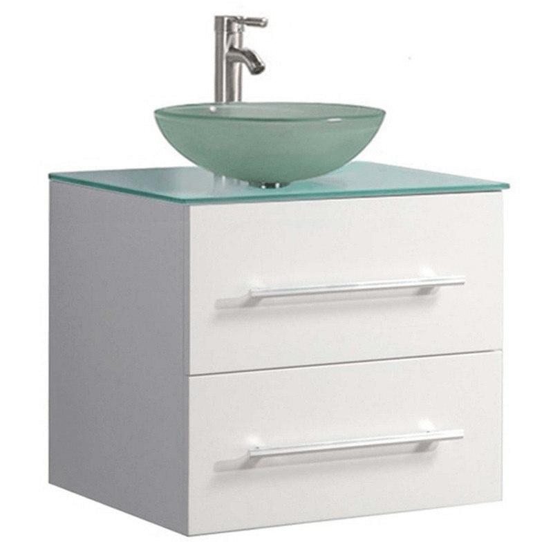 Mtd Mtd 8114bw Cuba 24 Inch Single Sink Wall Mounted Bathroom Vanity In White Mtd 8114bw Mtd8114bw