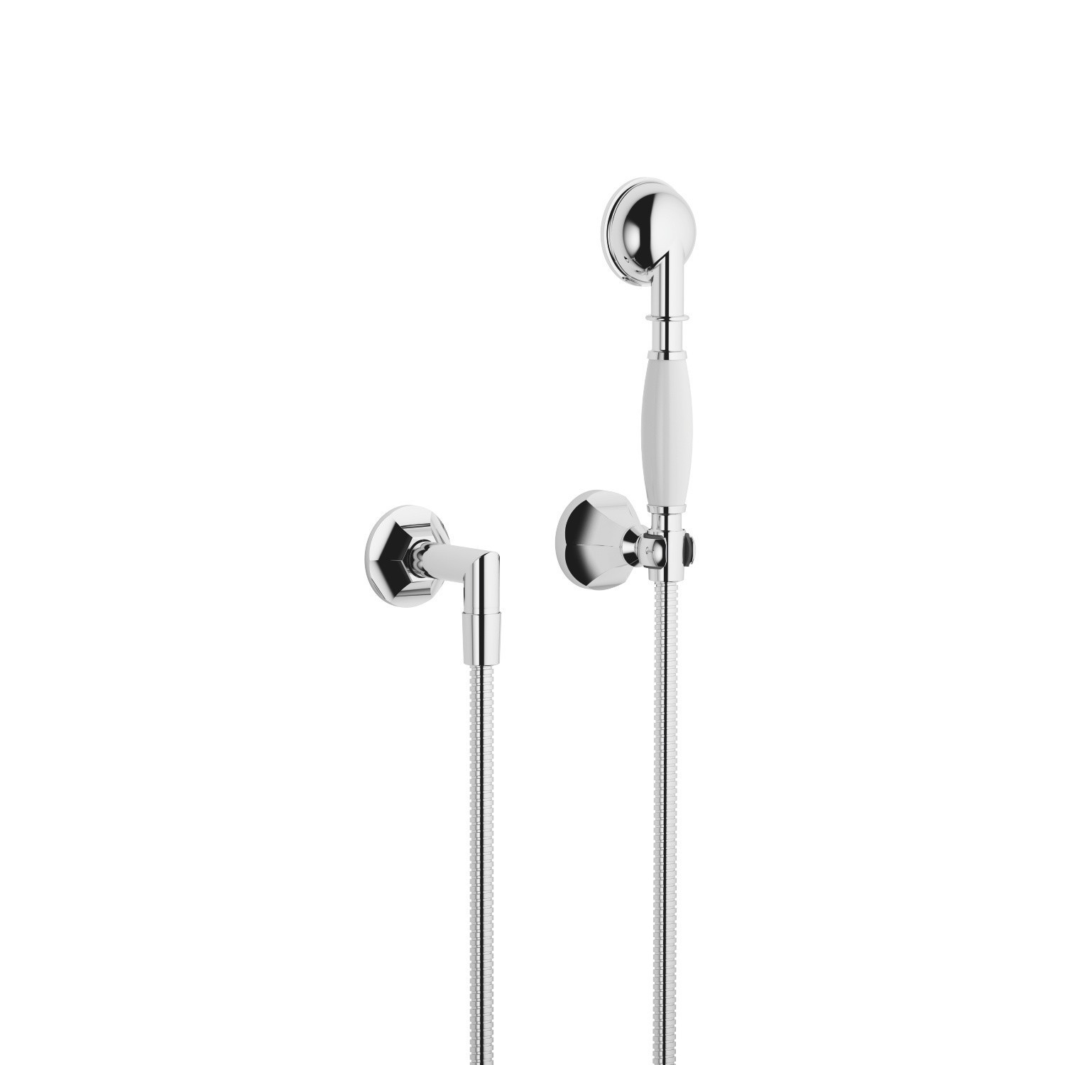 DORNBRACHT 27803371-0010 MADISON WALL MOUNT SINGLE-FUNCTION ROUND FLAIR HAND SHOWER SET WITH INDIVIDUAL FLANGES
