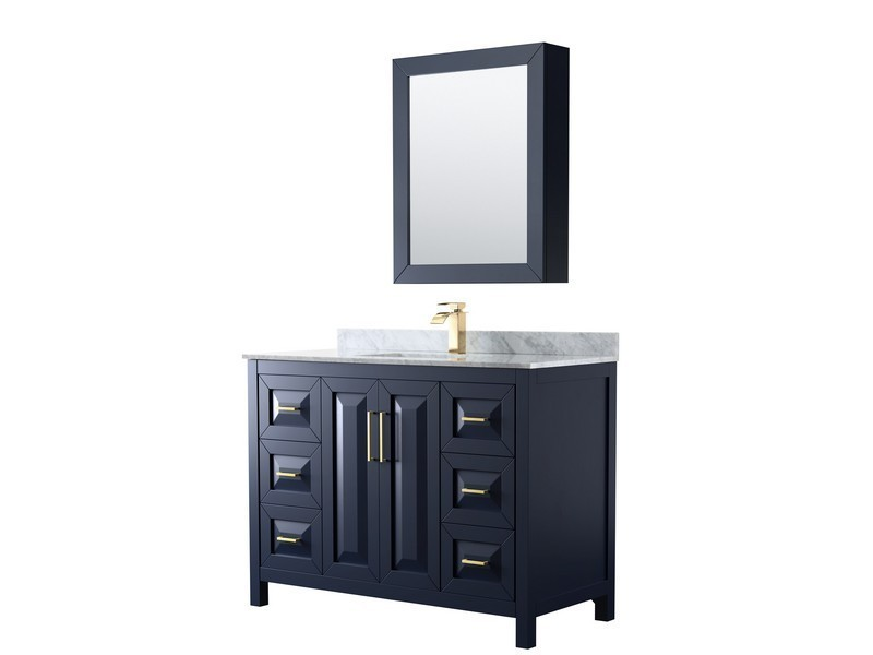 WYNDHAM COLLECTION WCV252548SBLCMUNSMED DARIA 48 INCH SINGLE BATHROOM VANITY IN DARK BLUE WITH WHITE CARRARA MARBLE COUNTERTOP, UNDERMOUNT SQUARE SINK AND MEDICINE CABINET