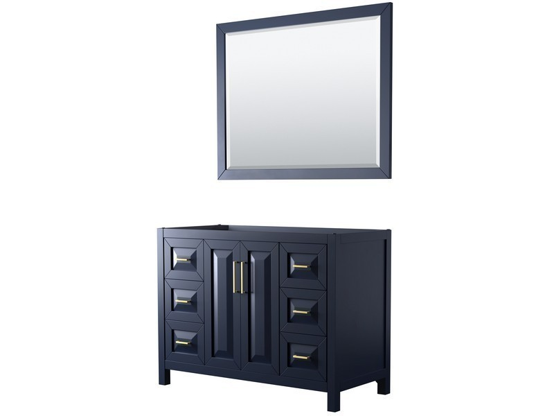 Wyndham Collection Wcv252548sblcxsxxm46 Daria 48 Inch Single Bathroom Vanity In Dark Blue With 46 Inch Mirror