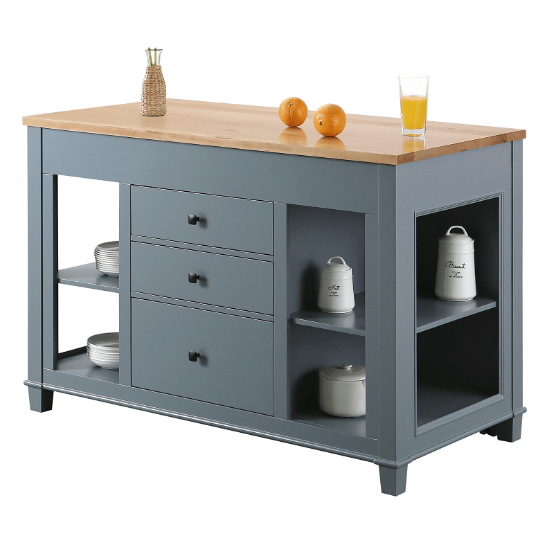 Design Element Kd 01 Gy Medley 54 Inch Kitchen Island With Slide Out Table In Gray Kd 01 Gy Kd01gy