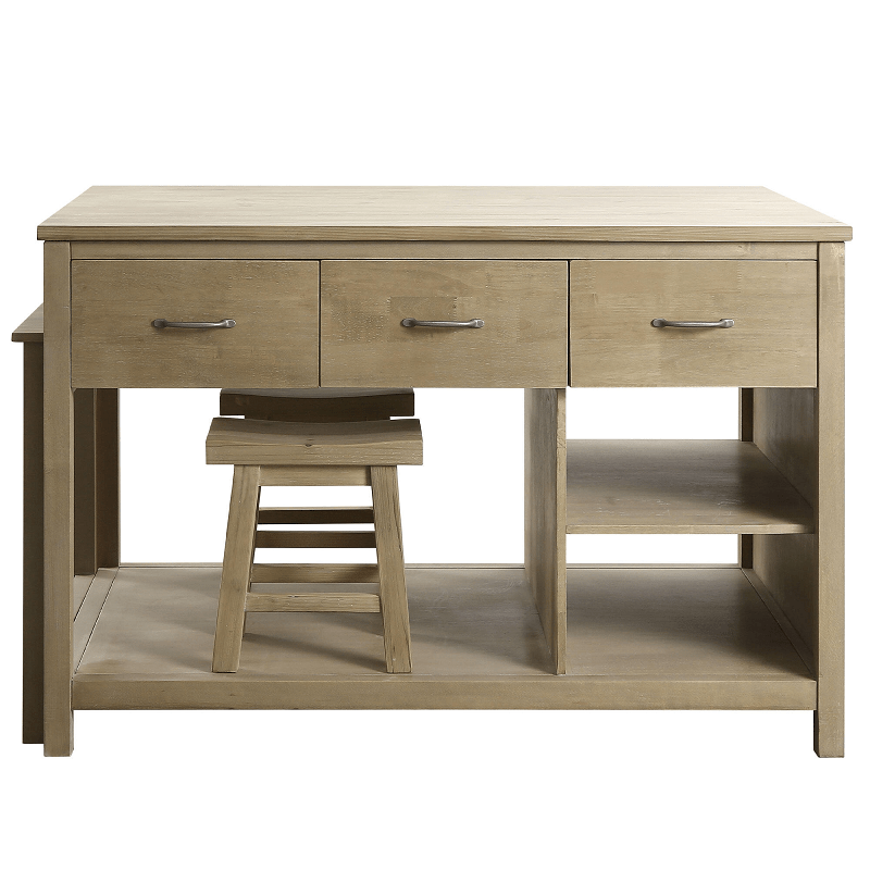 Design Element Kd 02 Garrett 54 Inch Kitchen Island With Slide Out Table In Distressed Pewter Kd 02 Kd02