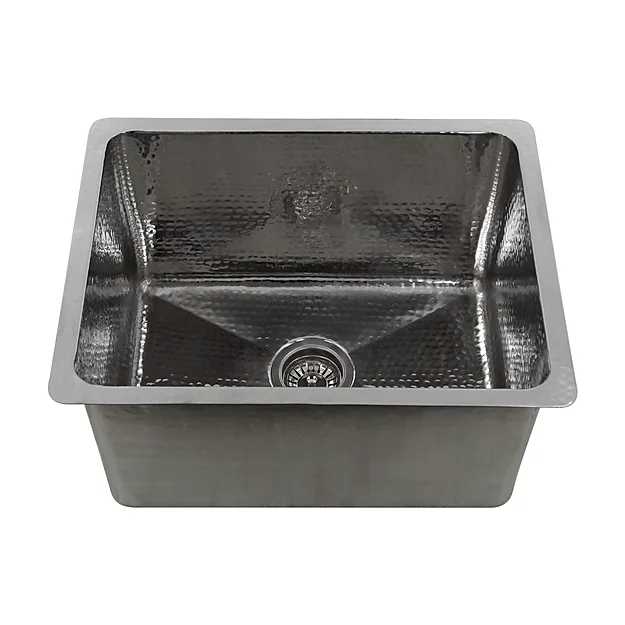 NANTUCKET SINKS KSSH2318-12 BRIGHTWORK 23 INCH HAMMERED STAINLESS STEEL RECTANGLE KITCHEN/LAUNDRY SINK