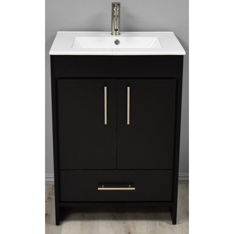 Mtd Volpa Usa Mtd 3124bk 14 Pacific 24 Inch Modern Bathroom Vanity In Black With Integrated Ceramic Top And Stainless