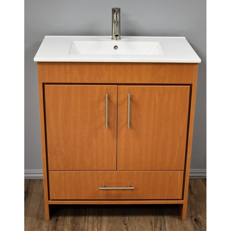 Mtd Volpa Usa Mtd 3130hm 14 Pacific 30 Inch Modern Bathroom Vanity In Honey Maple With Integrated Ceramic Top And