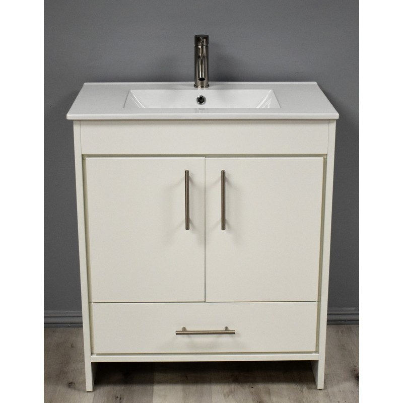 Mtd Volpa Usa Mtd 3130w 14 Pacific 30 Inch Modern Bathroom Vanity In White With Integrated Ceramic Top And Stainless