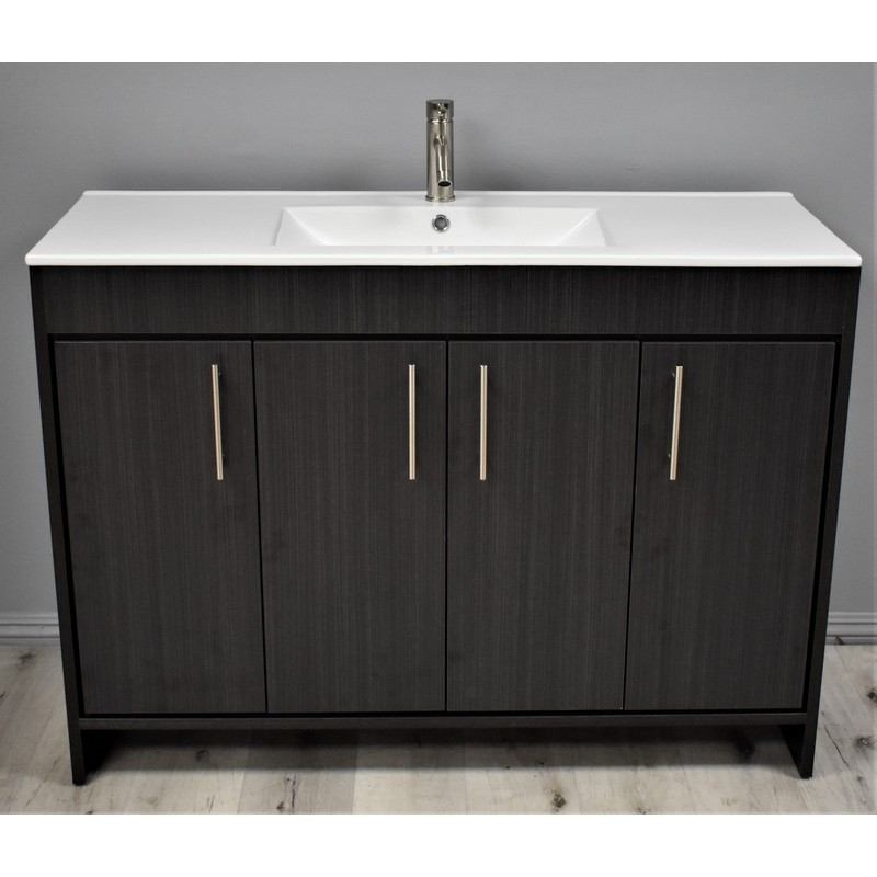 Mtd Volpa Usa Mtd 3148ba 14 Pacific 48 Inch Modern Bathroom Vanity In Black Ash With Integrated Ceramic Top And