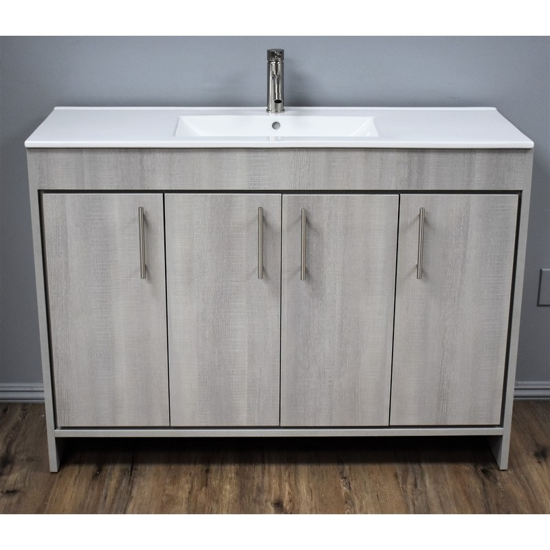 Mtd Volpa Usa Mtd 3148wg 14 Pacific 48 Inch Modern Bathroom Vanity In Weathered Grey With Integrated Ceramic Top And