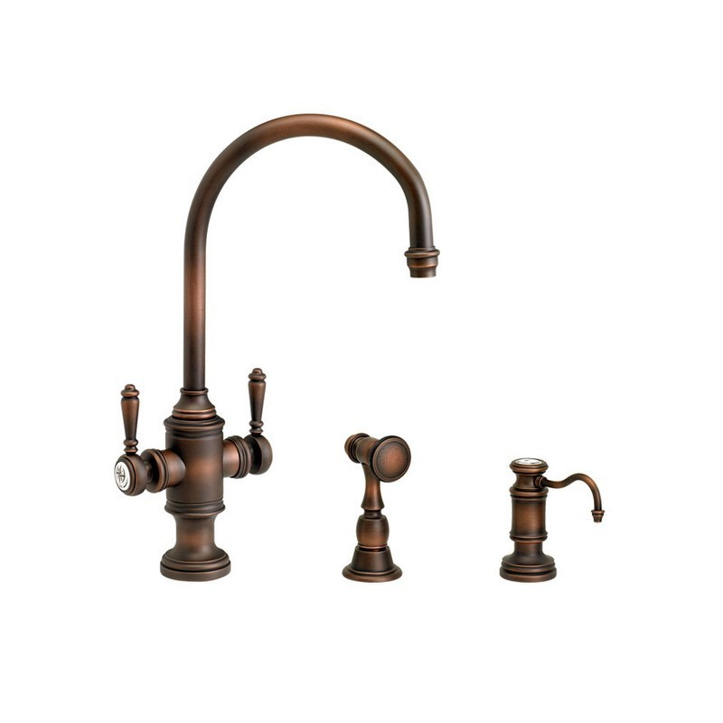 Waterstone 3710-18-CH Hunley Single Handle Kitchen Faucet with18-Inch Articulated Spout and Pull Out Spray Chrome
