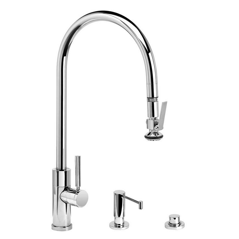 Waterstone 4410-18-4-WT Towson Kitchen Faucet Single Handle with 18-Inch Articulated Spout White