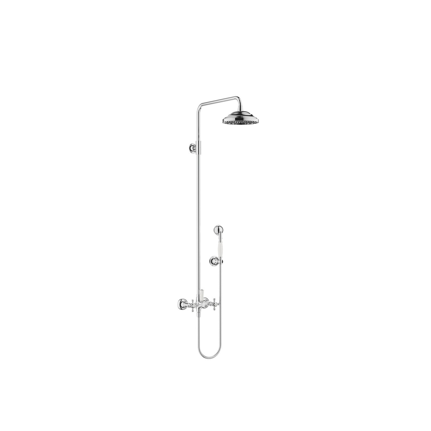 DORNBRACHT 26601360-0010 MADISON WALL MOUNT TWO CROSS HANDLES SHOWER MIXER WITH RAINHEAD AND HAND SHOWER SET