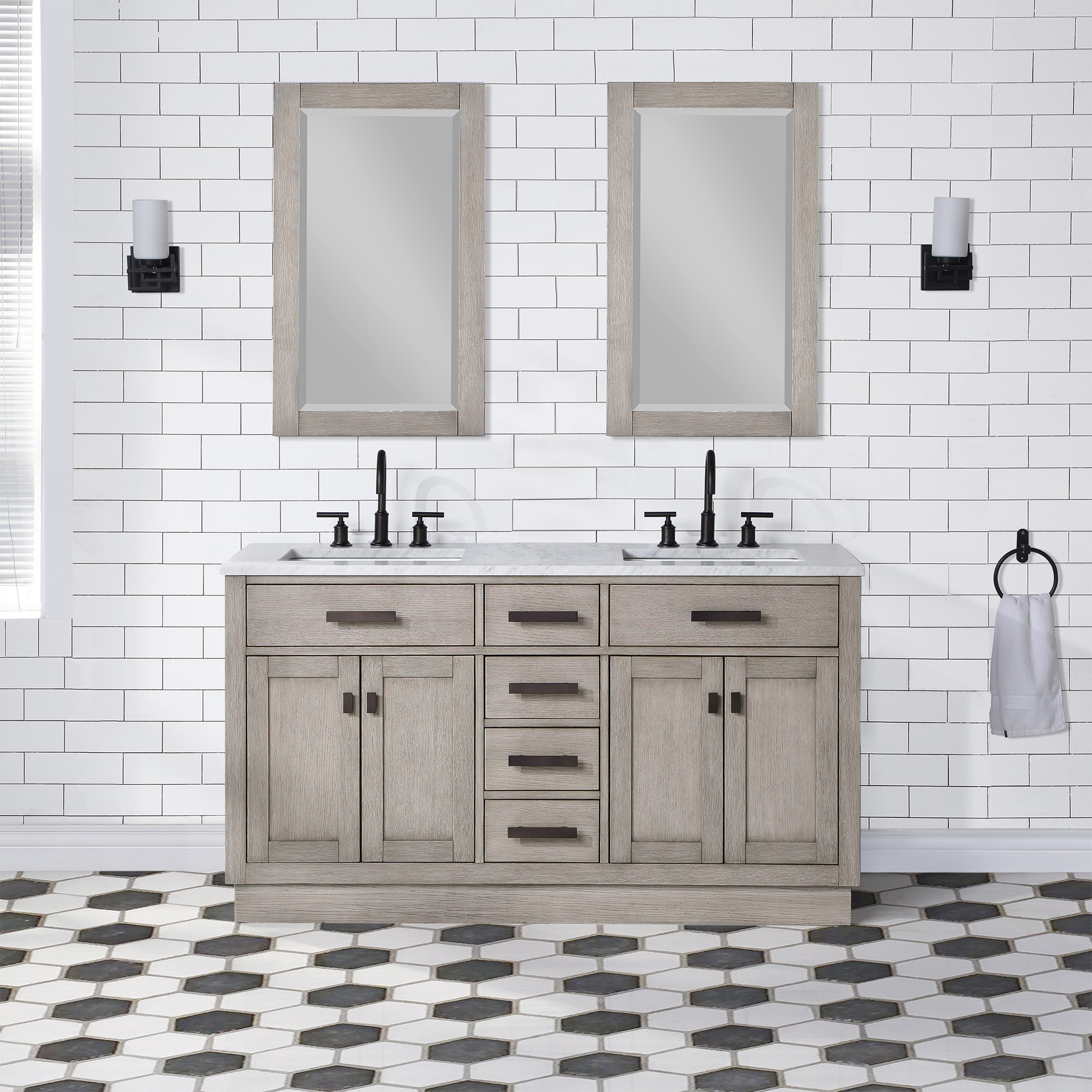 WATER-CREATION CH60B-0300GK CHESTNUT 60 INCH DOUBLE BATHROOM VANITY WITH MIRRORS IN GREY OAK