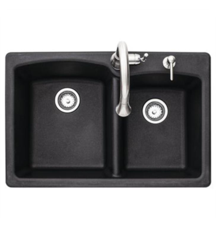 FRANKE EOOX33229KIT ELLIPSE 33 INCH DUAL MOUNT GRANITE KITCHEN SINK IN ONYX WITH FAUCET AND SOAP DISPENSER