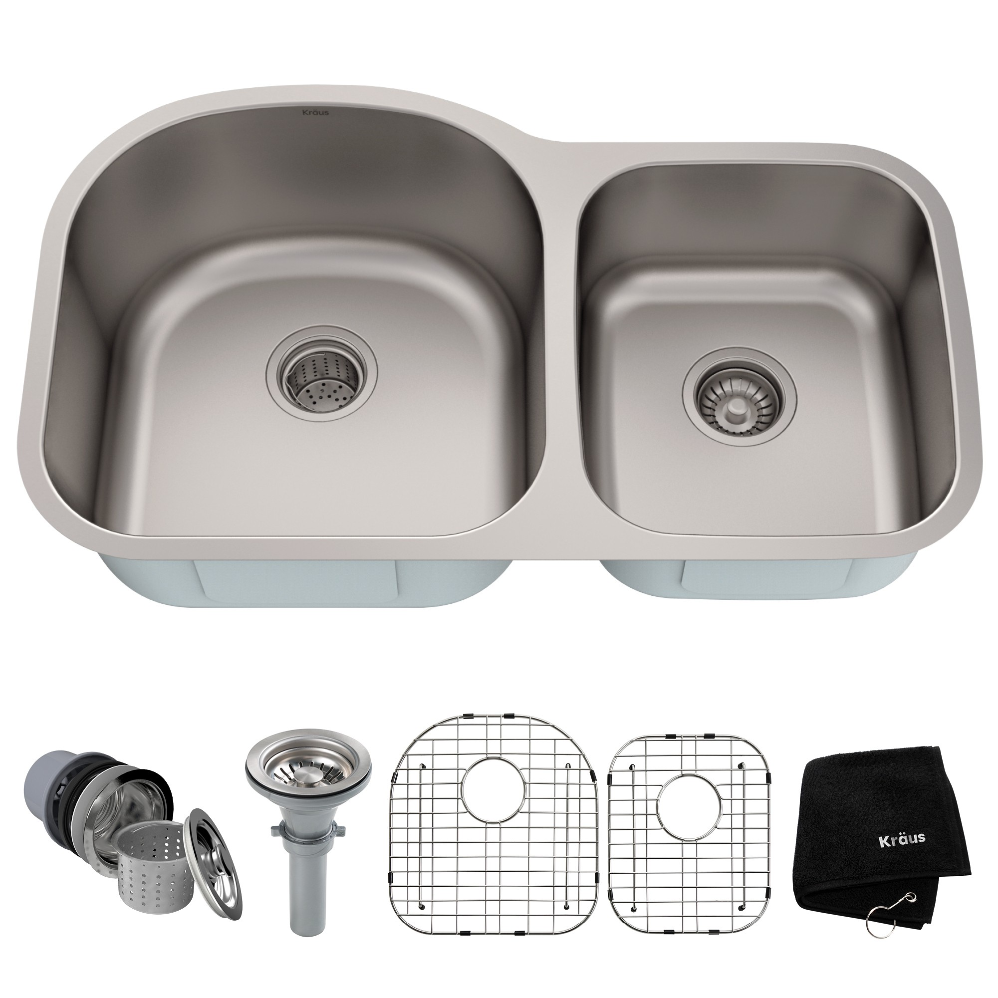 Kraus Kbu27 35 Inch Undermount 60 40 Double Bowl 16 Gauge Stainless Steel Kitchen Sink Set