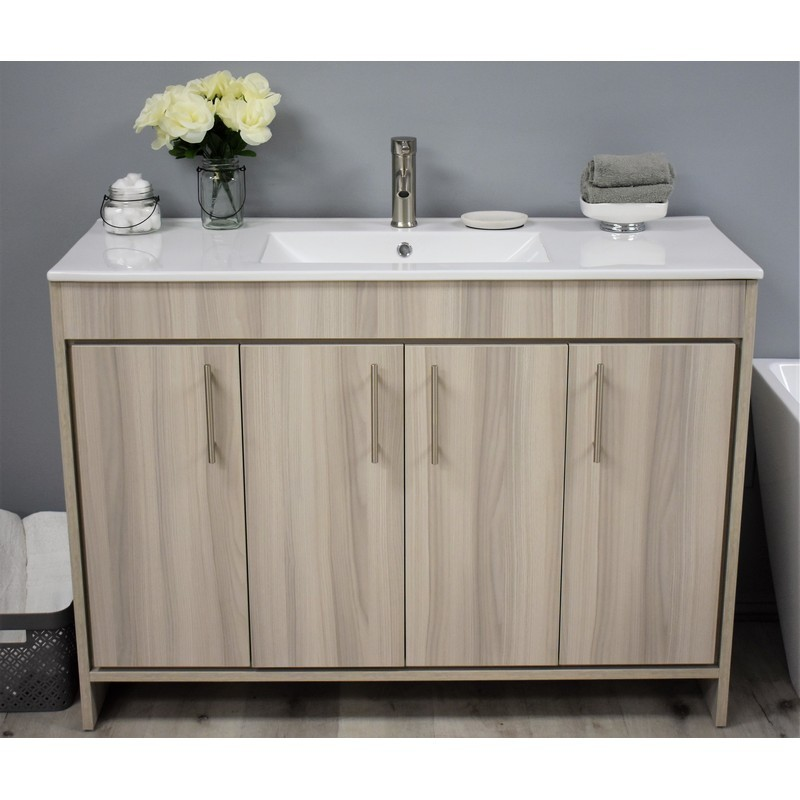 MTD VOLPA USA MTD-3448AG-14 VILLA 48 INCH MODERN BATHROOM VANITY IN ASH GREY WITH INTEGRATED CERAMIC TOP AND STAINLESS STEEL ROUND HOLLOW HARDWARE