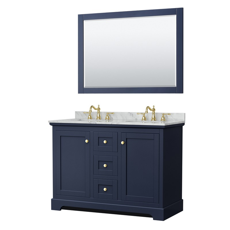 Wyndham Collection Wcv232348dblcmunom46 Avery 48 Inch Double Bathroom Vanity In Dark Blue With White Carrara Marble