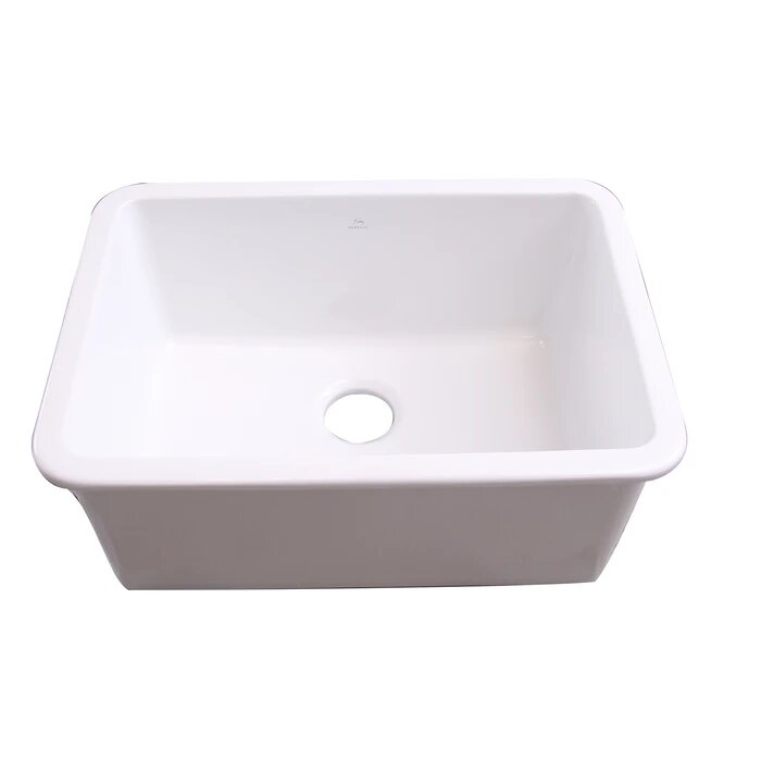 Barclay Ks27 Wh Orabella 26 1 2 Inch Single Bowl Drop In Or Undermount Kitchen Sink White Ks27 Wh Ks27wh